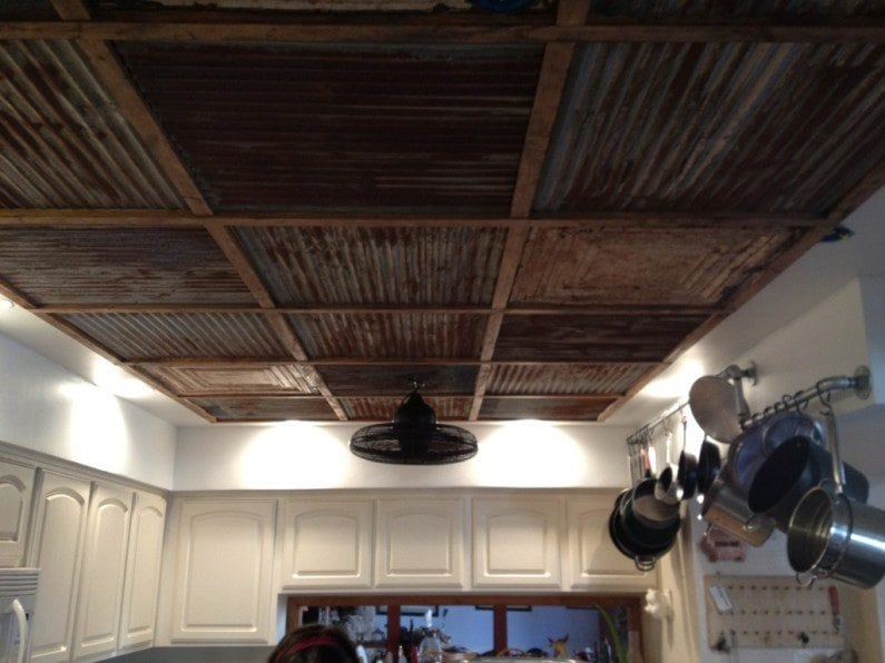 Corrugated metal ceiling for Metal barn over basement