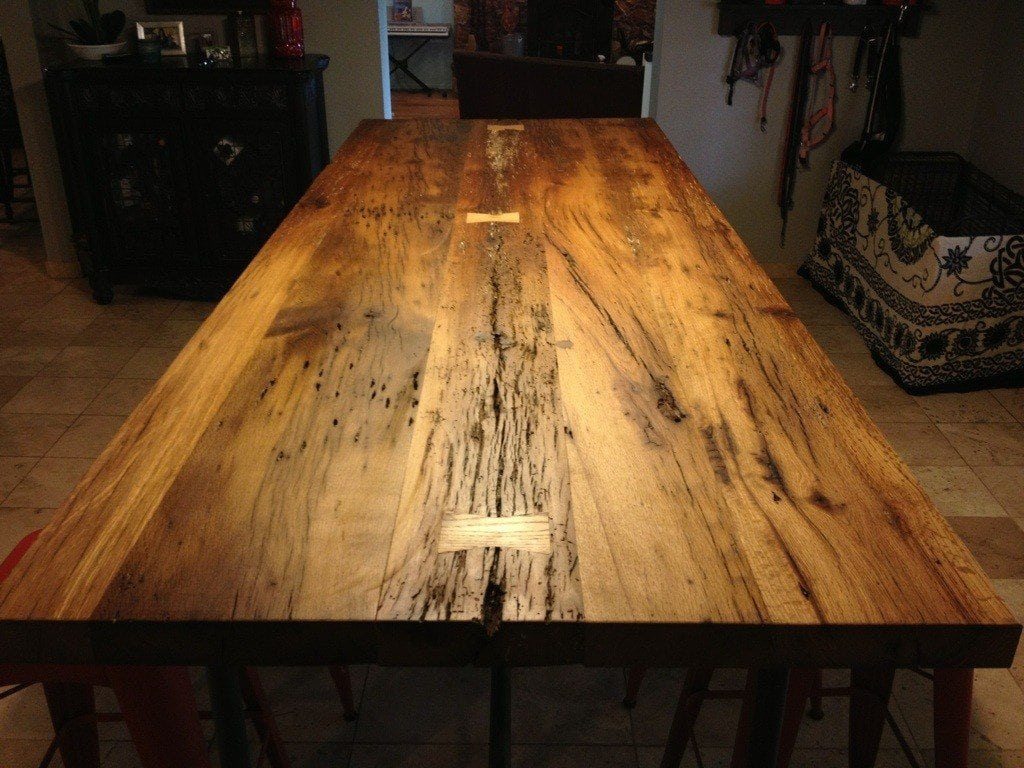 Reclaimed White Oak Table With Butterfly Bowtie Inlays Porter Barn Wood