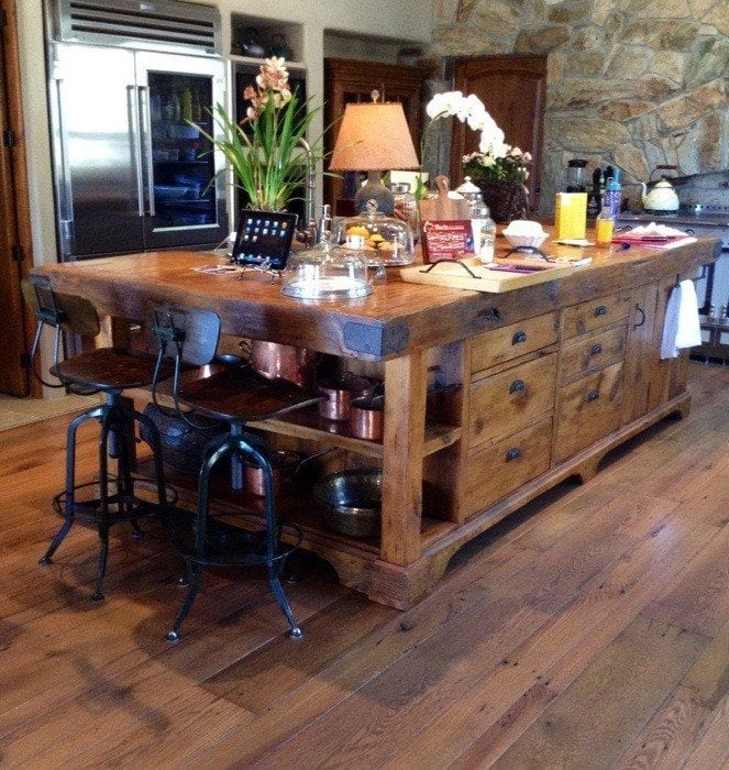 appealing reclaimed wood kitchen island | Reclaimed Granary Board Center Island | Porter Barn Wood