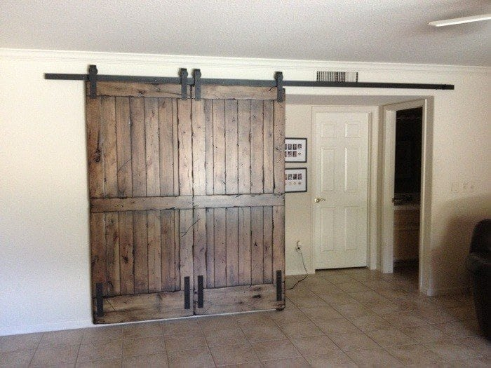 Knotty Alder Double Sliding Barn Door Porter Barn Wood