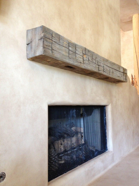 reclaimed beam floating mantel porter barn wood