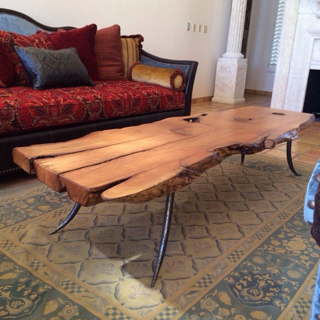 Wood slab table legs - Alligator Juniper Slab Table With Steel Forged Legs