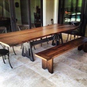 Live Edge Oak Crank Table and Oak/Ash Bench