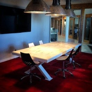 X Base White Conference Table with Maple Top