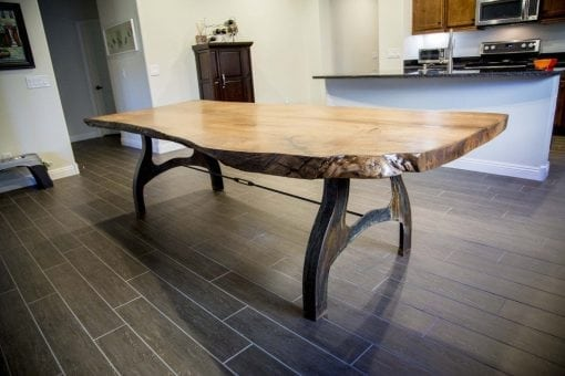White Oak Live Edge Table with Custom Patina Base