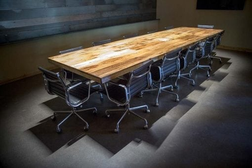Reclaimed Tobacco Barn Brown Conference Table