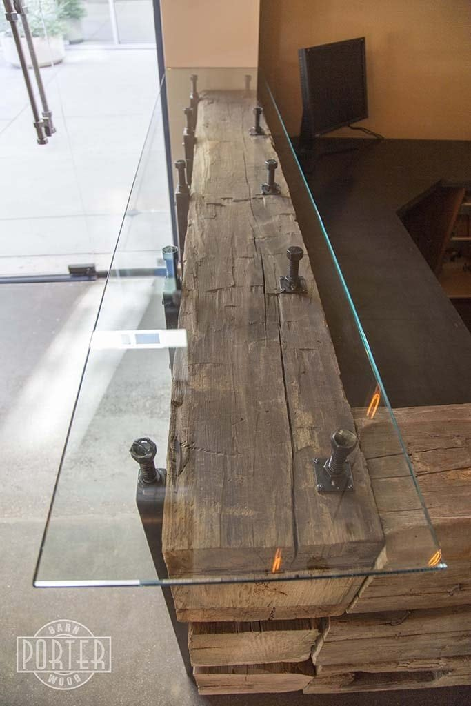 Porter Barn Wood Reception Desk Hand Hewn Beams