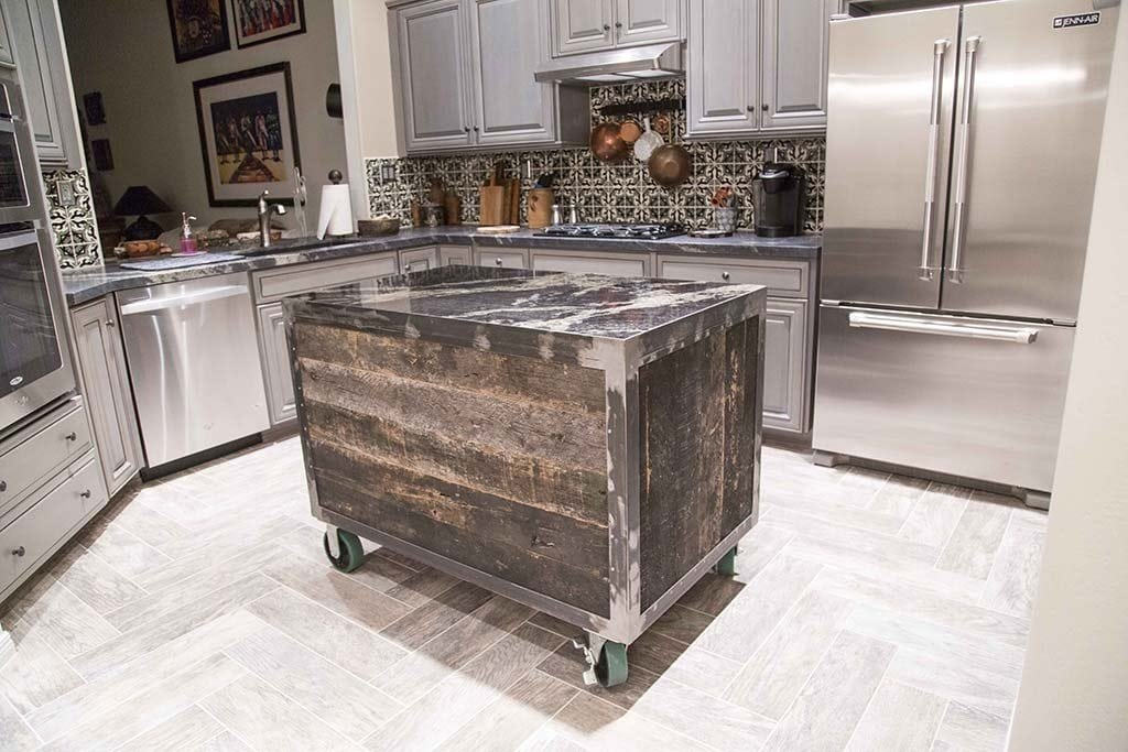 Speckled Black Rolling Kitchen Island Porter Barn Wood