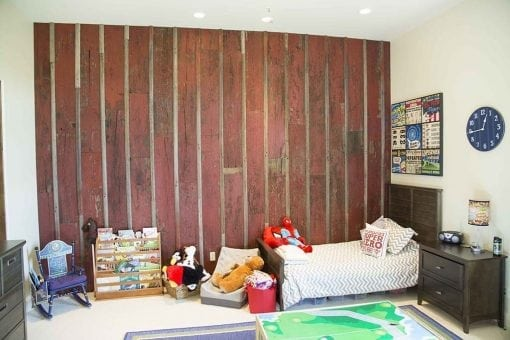 Distressed Red Reclaimed Board and Batten Wood Wall Covering