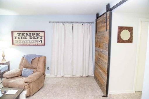 Mixed Chestnut and Mushroom Wood Sliding Barn Door