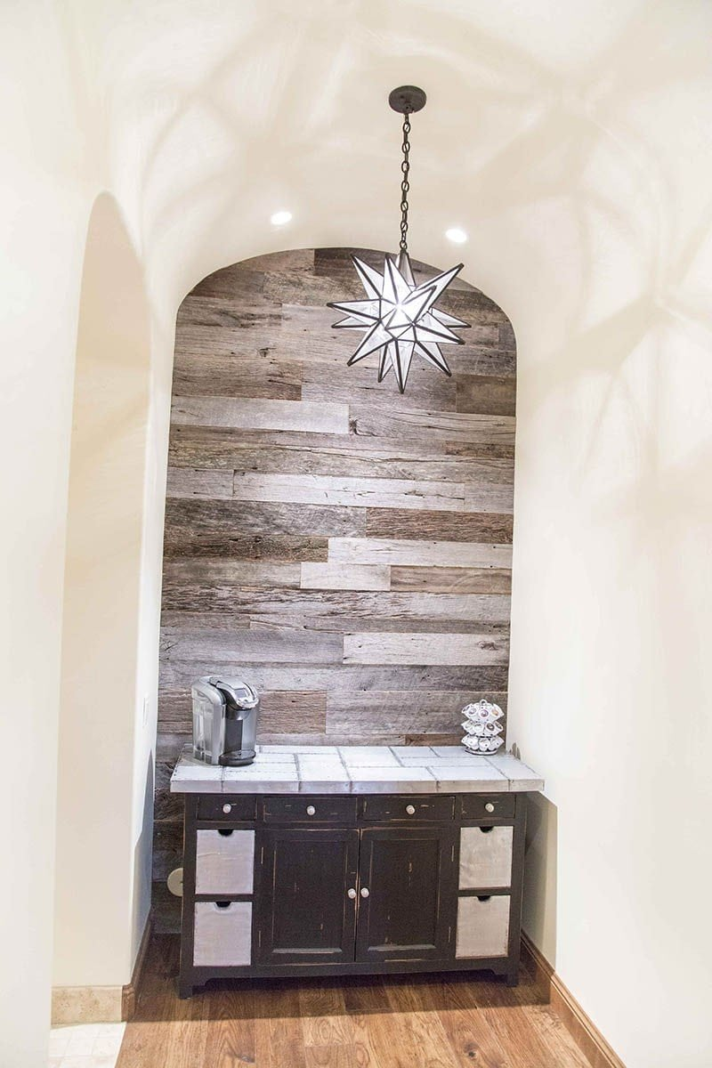 Tobacco Barn Grey Arched Ceiling Accent Wood Wall