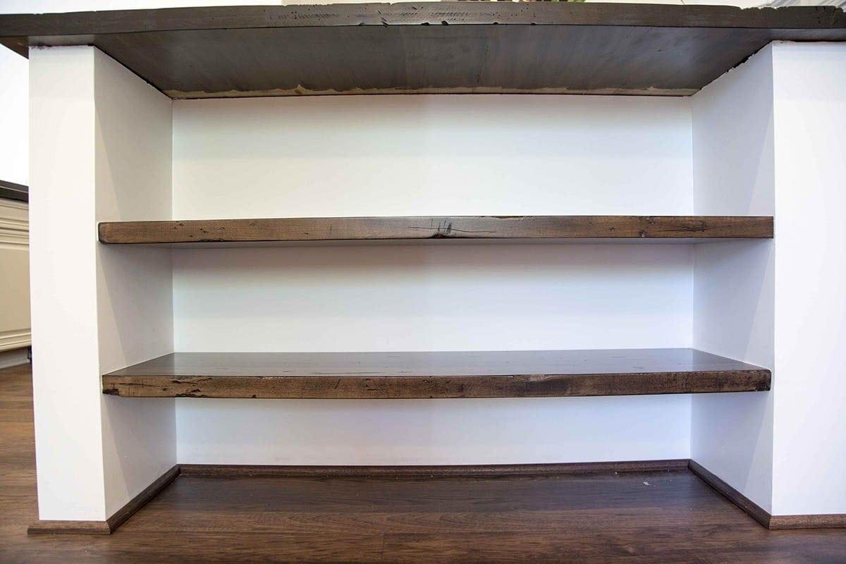 Countertop Shelf : PBW - Maple Island Countertop w/ Maple Floating Shelves