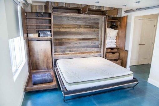 Mixed Tobacco Barn Grey/Brown Wood Wall + Murphy Bed + Dog Murphy Bed + Cabinets