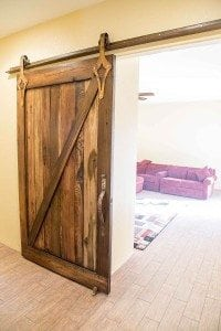 Distressed Tobacco Barn Brown Sliding Barn Door w/ Patina'd Hardware