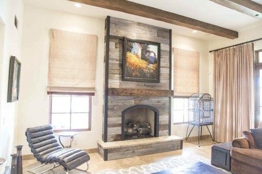 Tobacco Barn Grey Fireplace Wood Wall W/ Steel Trim