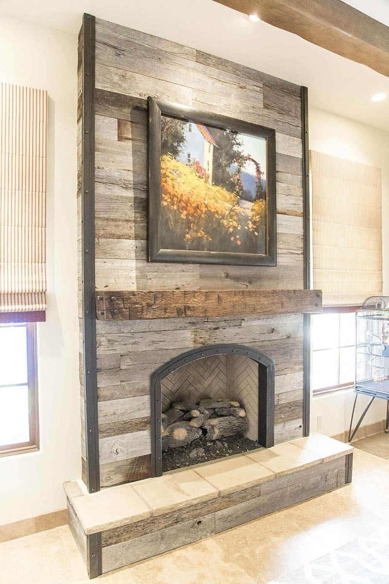 Porter Barn Wood Tobacco Barn Grey Fireplace Wood Wall