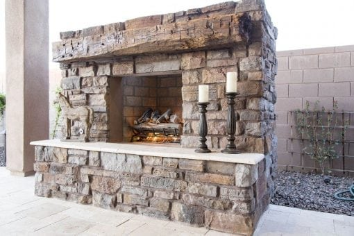 Reclaimed Hand Hewn White Oak Outdoor Mantle
