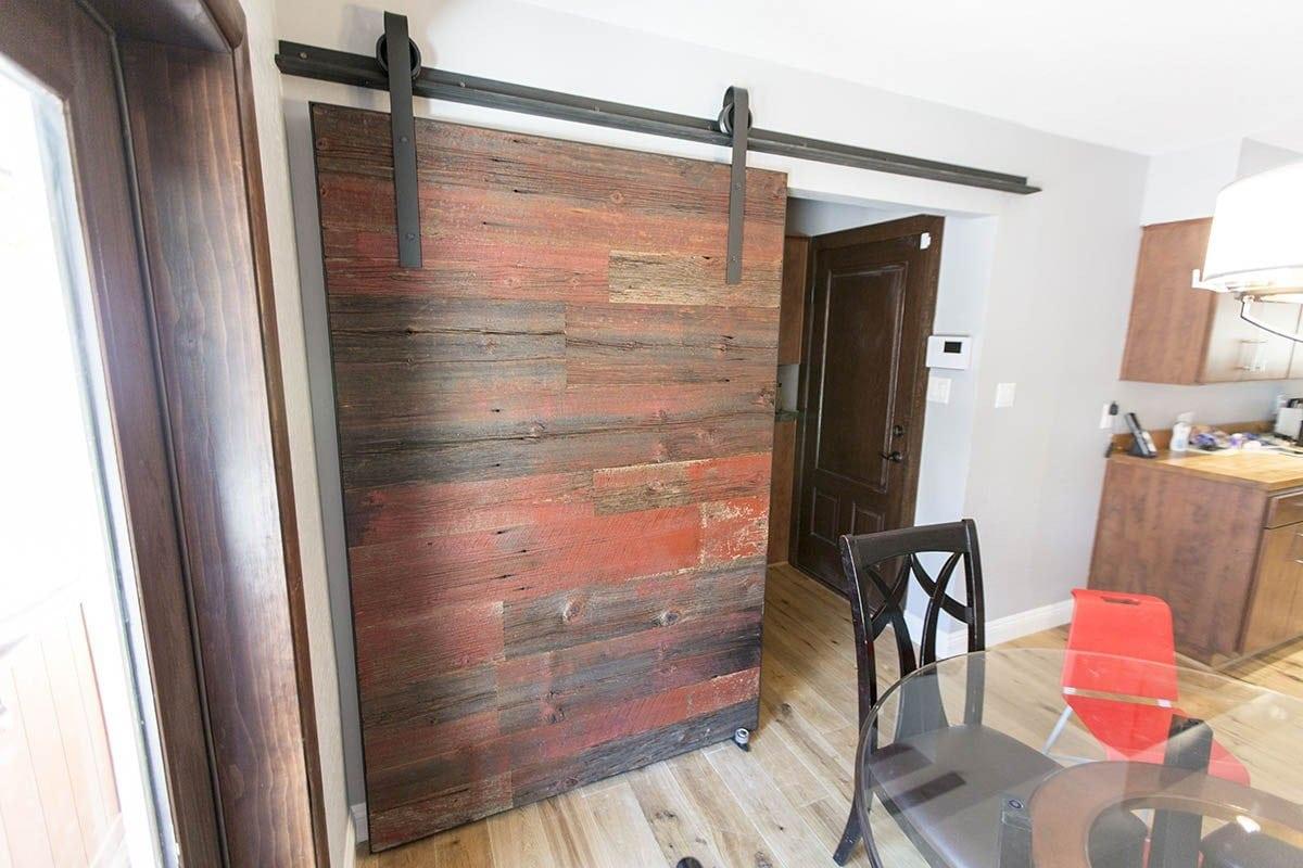 Red grey hemlock modern contemporary sliding barn door