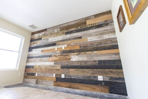 Mixed Barn Wood Media Wood Wall