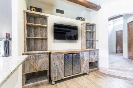 Reclaimed Tobacco Barn Grey Cabinets w/ Rolling Bar Cart