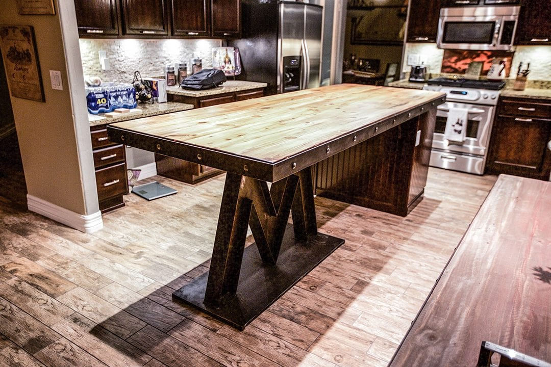 ... Steel & Reclaimed Wood Kitchen Island - Porter Reclaimed Barn Wood