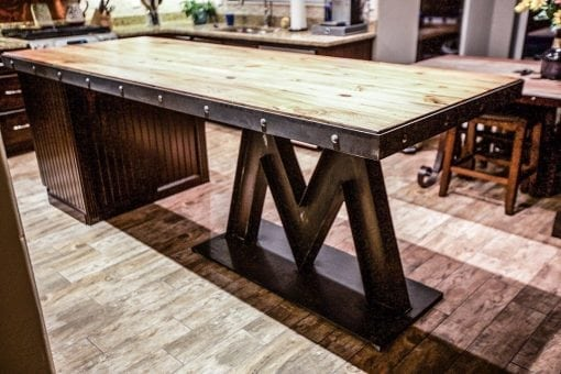 M Base Steel & Reclaimed Wood Kitchen Island