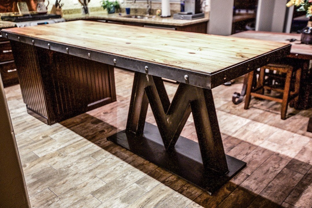 Kitchen Island Base m base steel & reclaimed wood kitchen island | porter barn wood