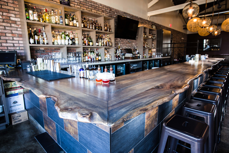 Okra Cookhouse & Cocktails Live Edge Bar Top   Porter Barn ...