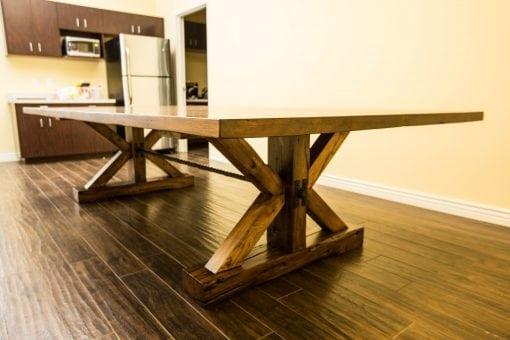 Base reclaimed hardwoods break room dining conference table