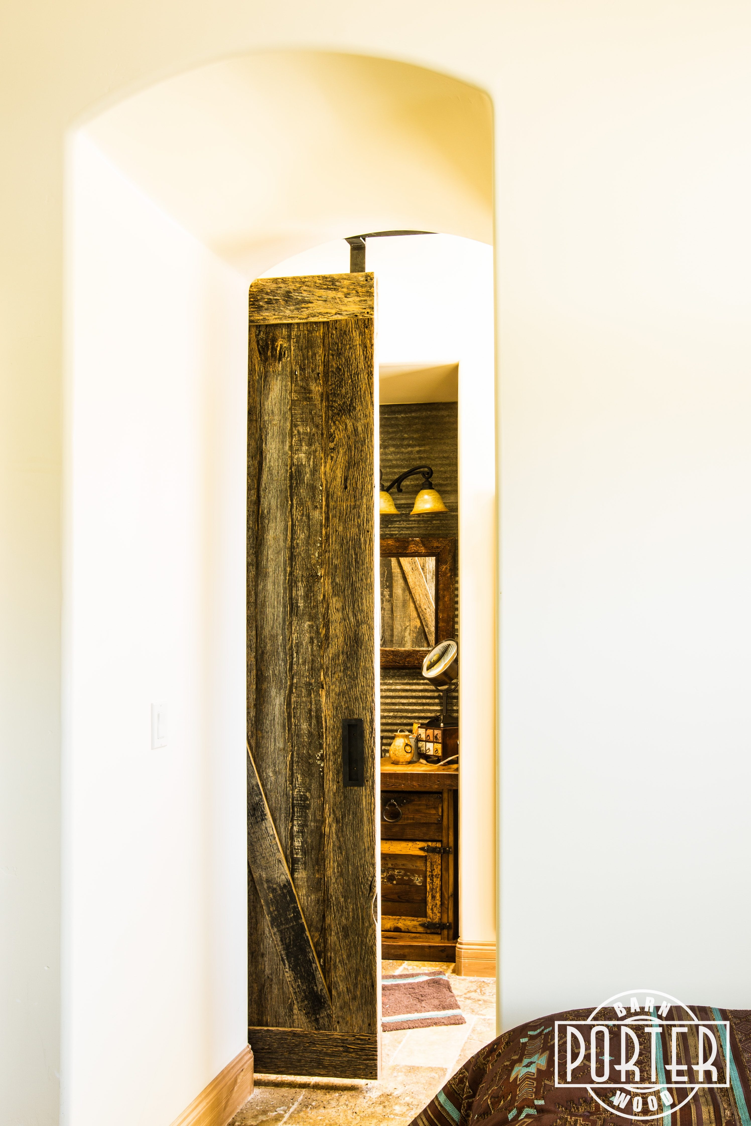 Barn door for bathroom