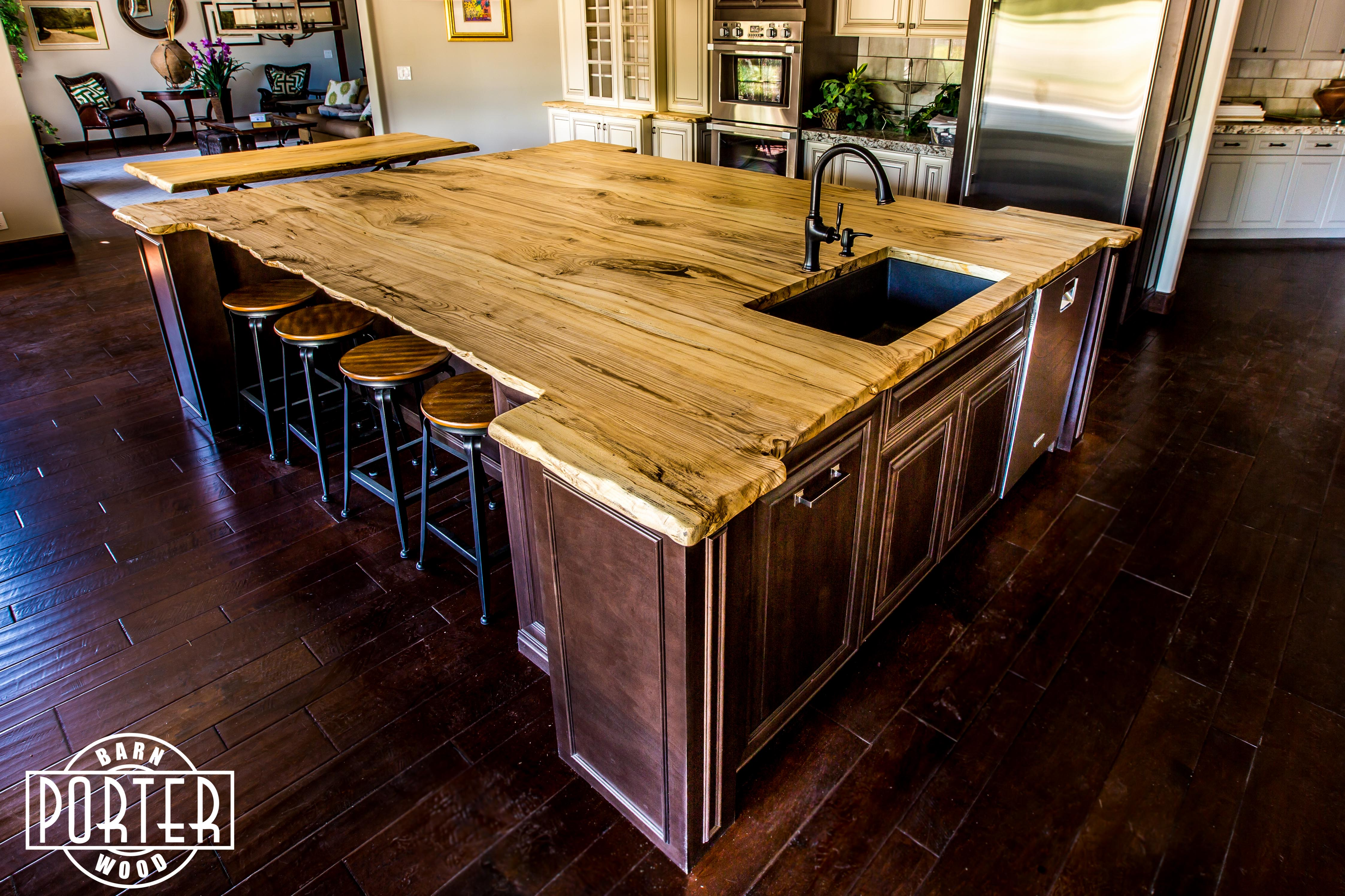 Live Edge Hackberry Island Top Porter Barn Wood