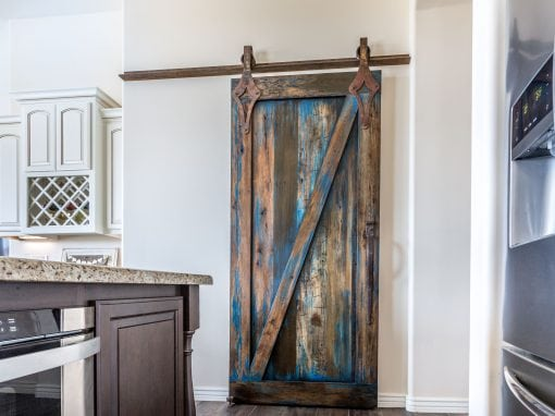 Blue Stained Sliding Door