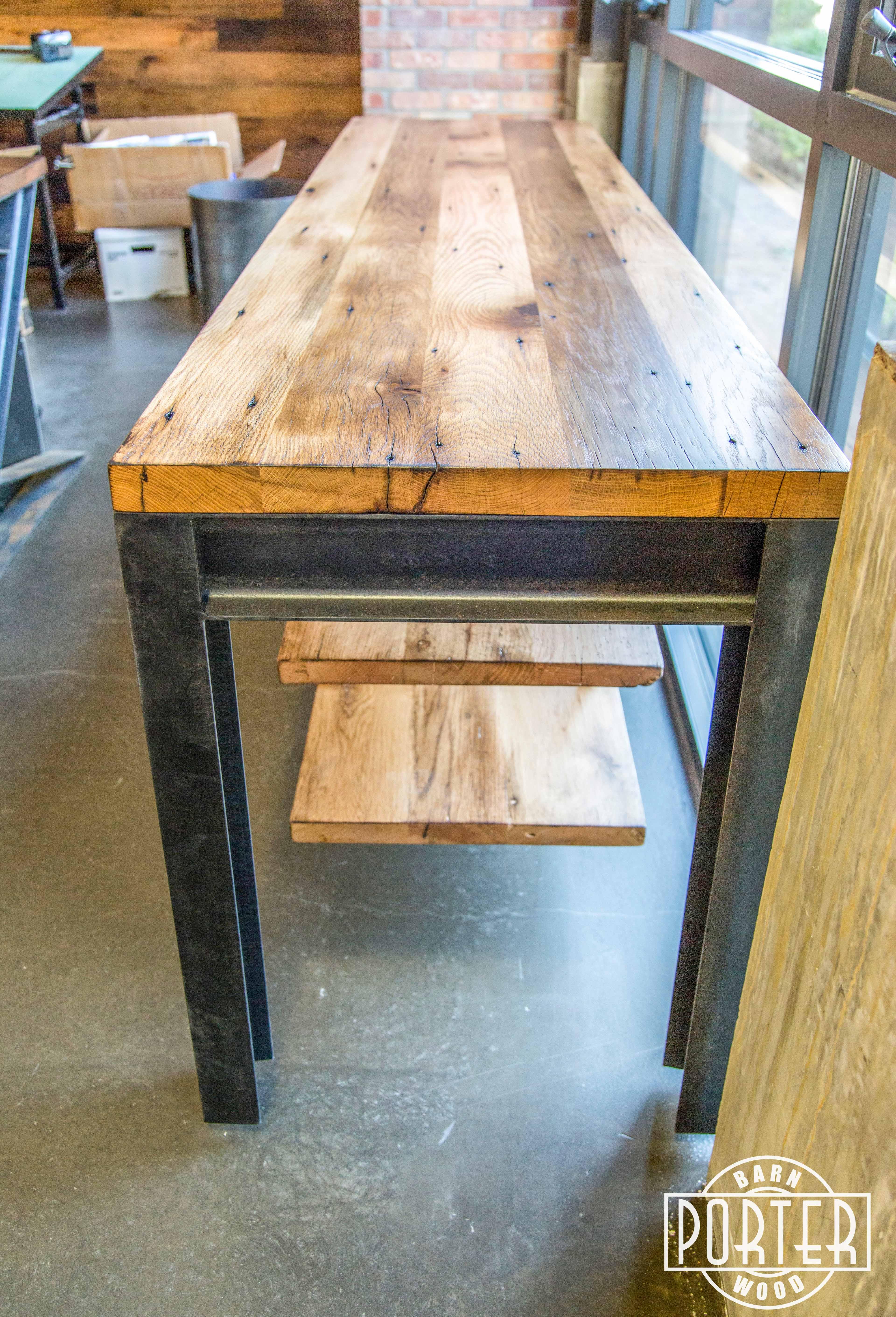 I Beam Suspension Shelf Table Porter Barn Wood