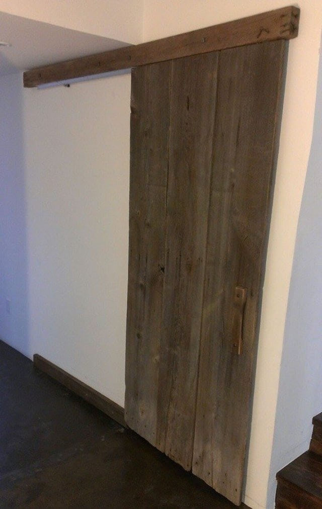 Sliding Door with Hand-Made Wood Handle