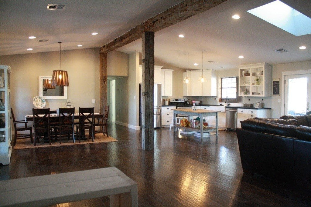 Reclaimed Barn Wood Beams for Remodeled Kitchen