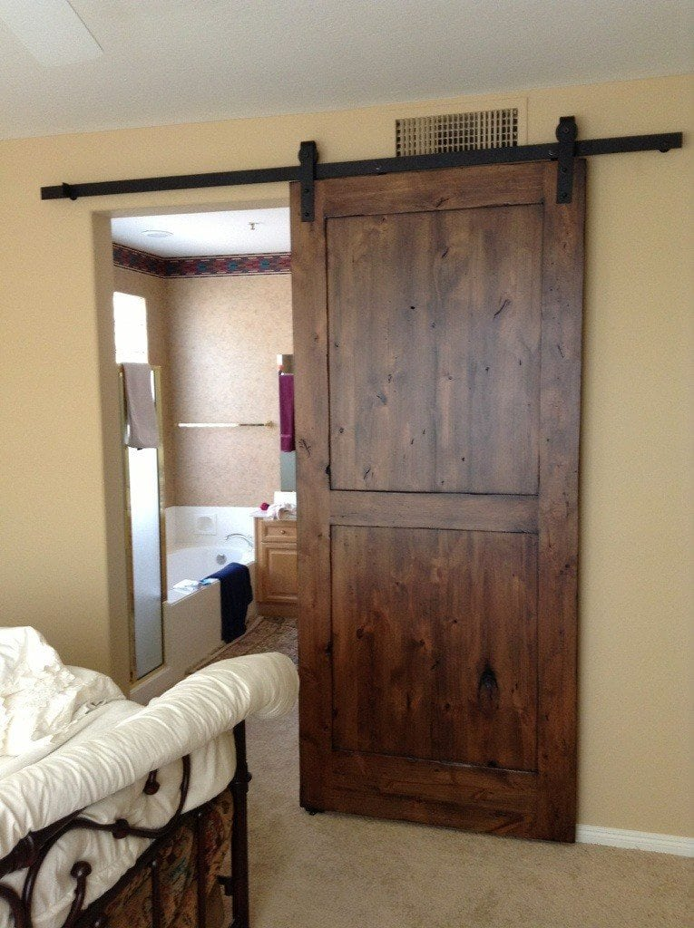 Distressed Knotty Alder Sliding Barn Door