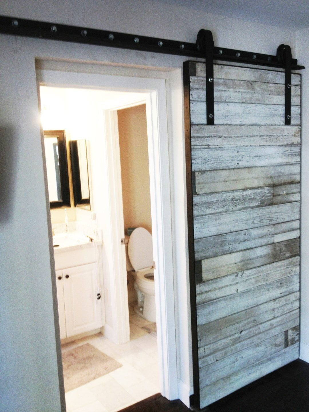 Reclaimed White Bead Board Sliding Door