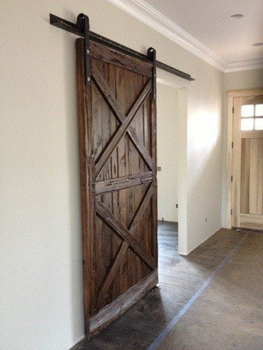 Double X Pattern Mushroom Wood Sliding Barn Door