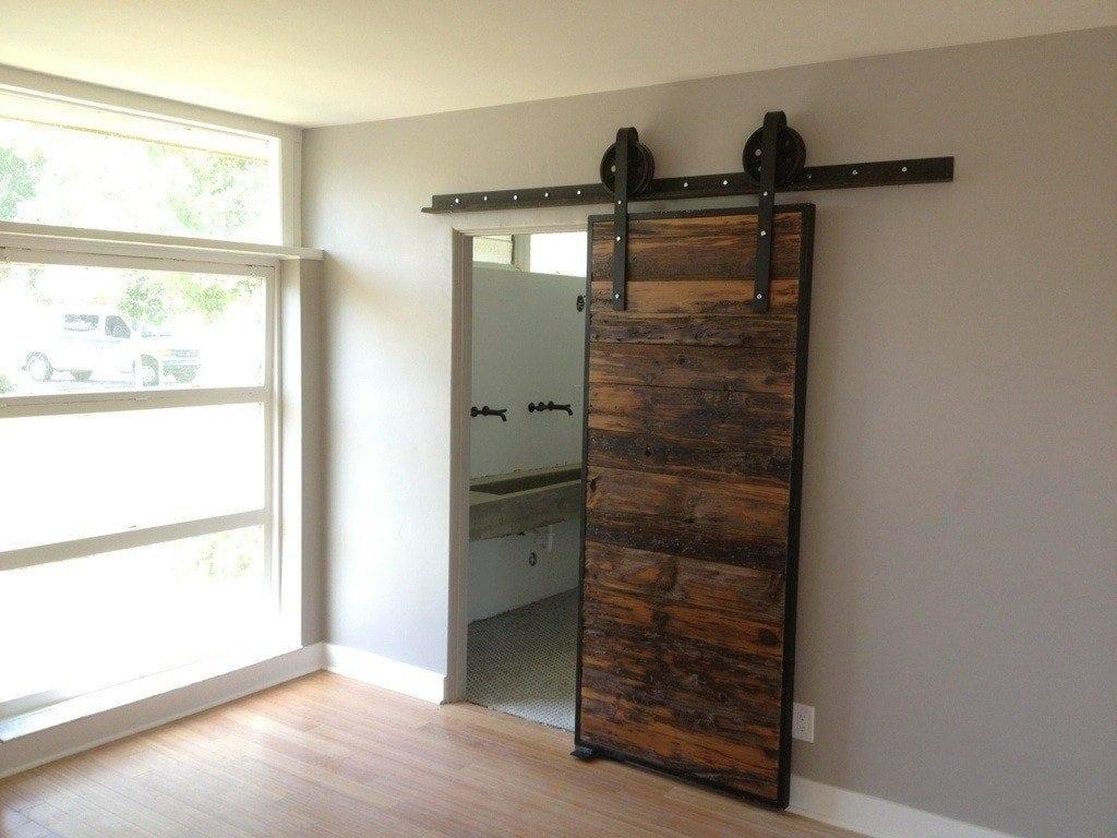 Mushroom wood red grey siding sliding door porter barn for Wood interior barn doors