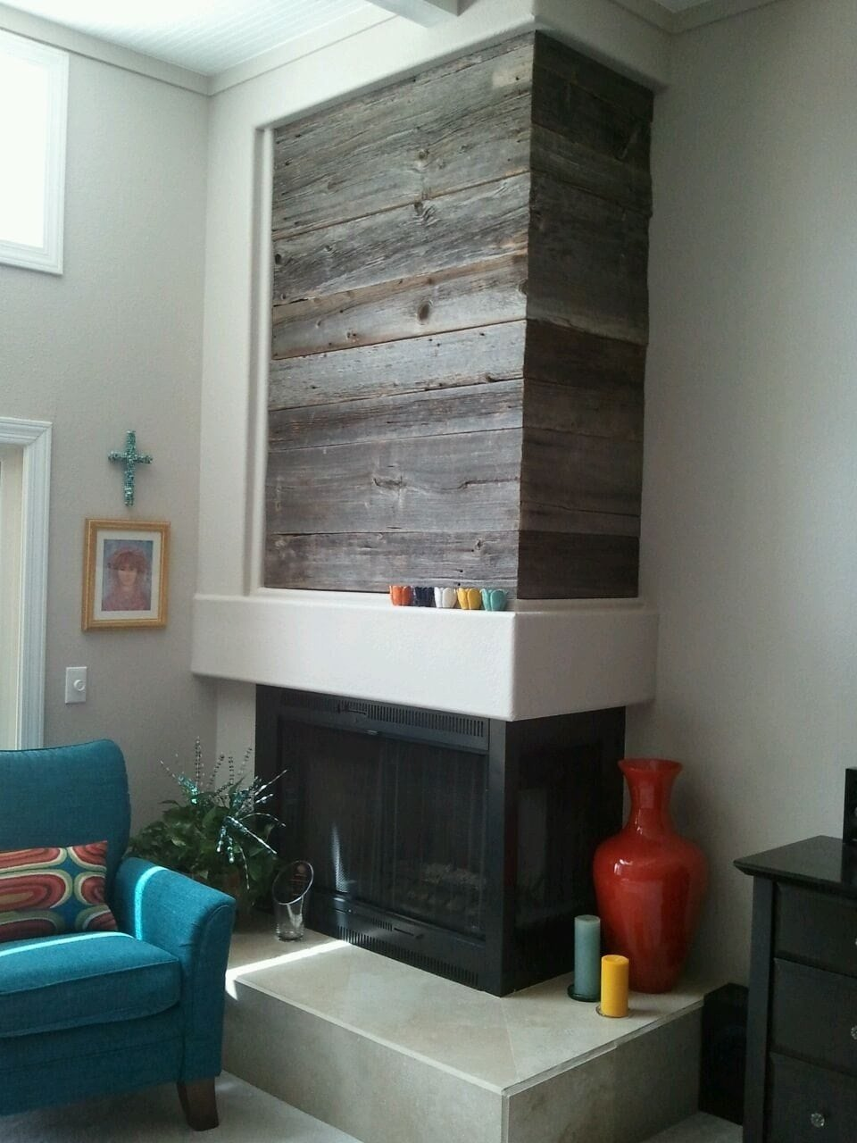 Reclaimed Siding Fireplace Wall Wrap