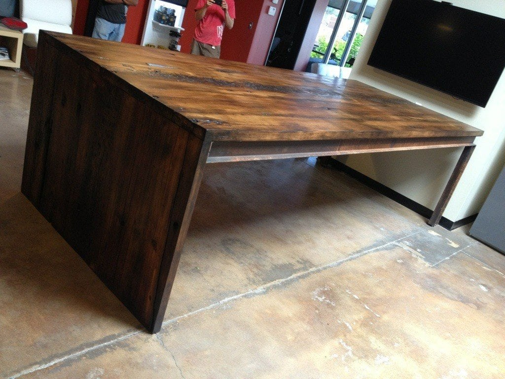 Reclaimed Hemlock And Steel Conference Table Porter Barn Wood - Build a conference table