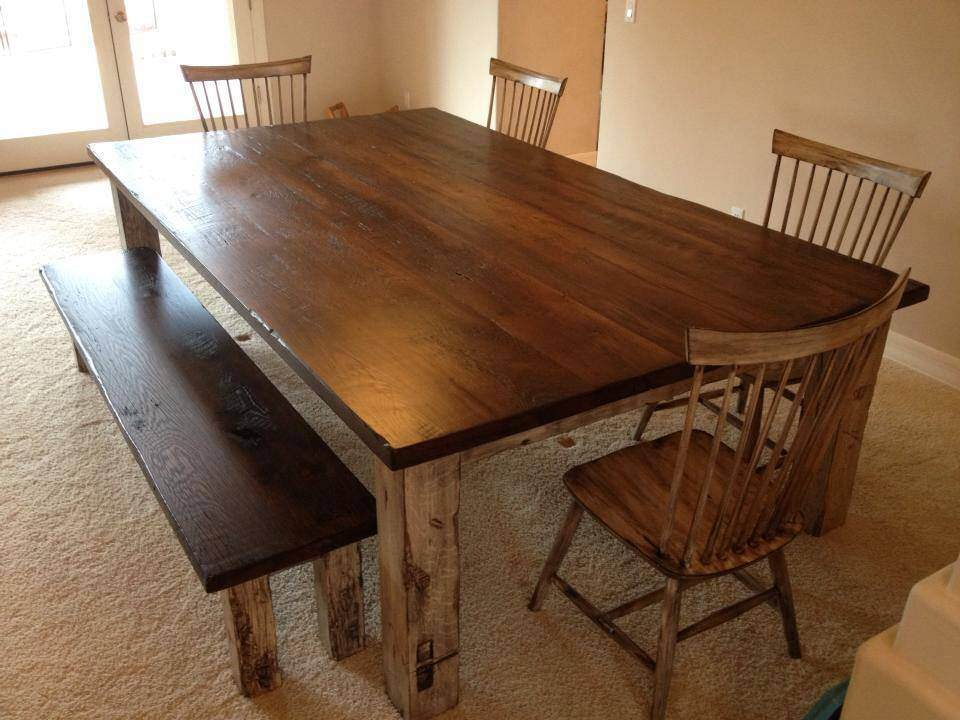 Large Reclaimed Oak Farmhouse Table Porter Barn Wood