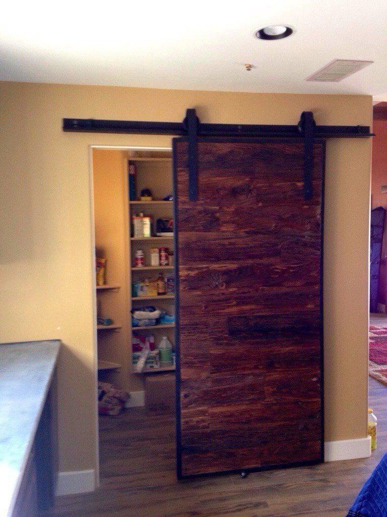 Mushroom Wood Sliding Barn Door Pantry