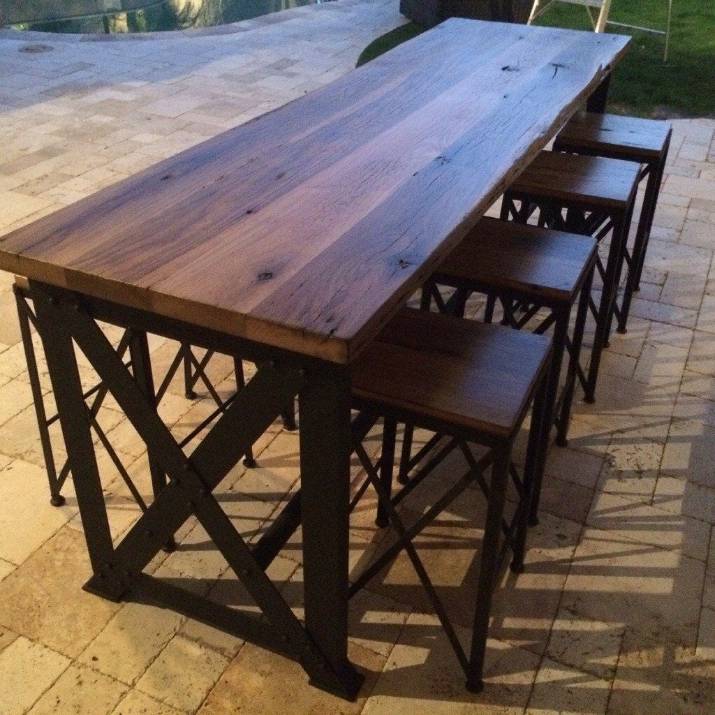 Reclaimed Oak Ash Outdoor Bar Table