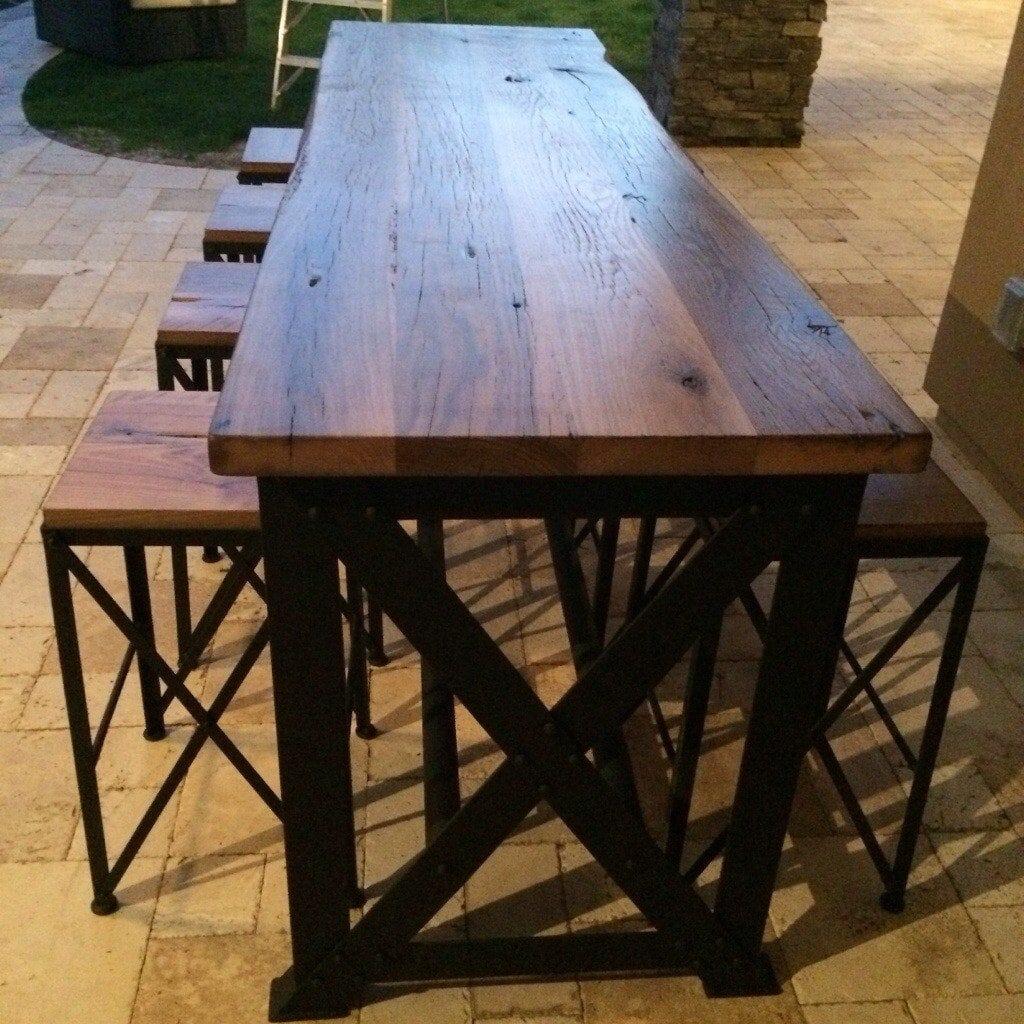 Reclaimed oak ash outdoor bar table porter barn wood - Build outdoor bar table ...