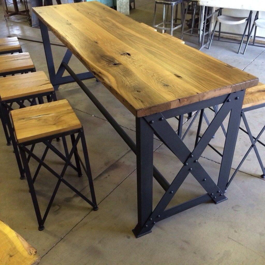 Reclaimed Oak/Ash Outdoor Bar Table