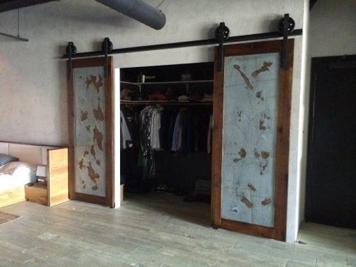 Reclaimed Oak/Ash and Patina Galv Sliding Doors