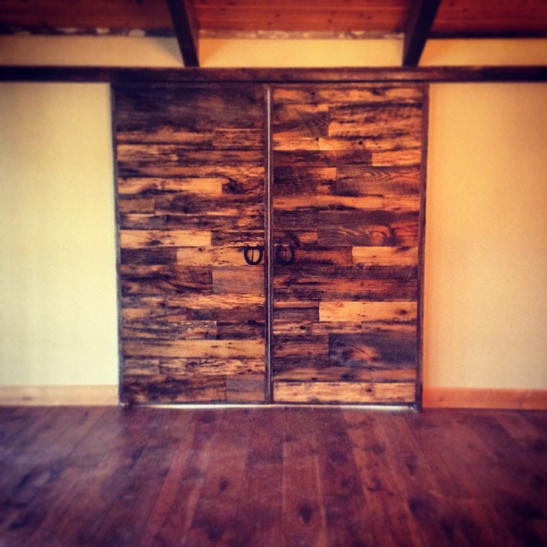 Box Track Bi-Part Tobacco Barn Wood Sliding Doors