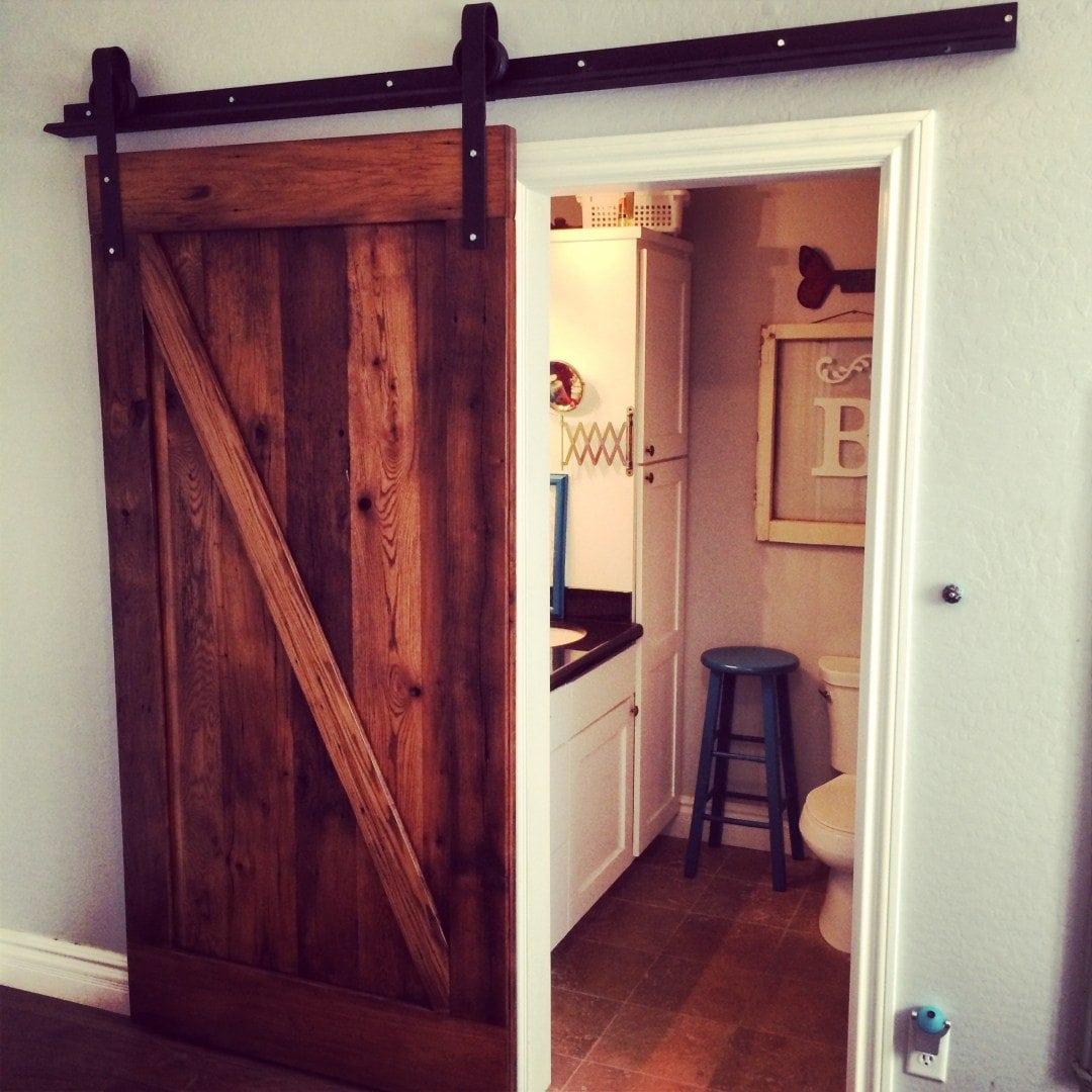 Z Pattern Mixed Hardwoods Sliding Door