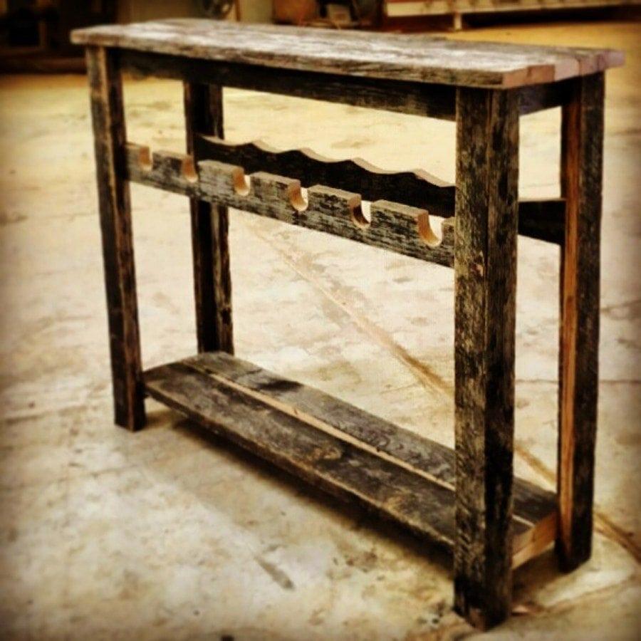 Simple Speckle Black Wine Rack Sofa Table | Porter Barn Wood